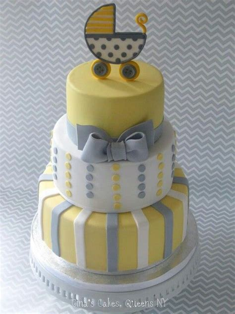 Yellow And Grey Baby Shower Cake by Baby Shower Cakes Baby Shower Cakes Yellow And Gray