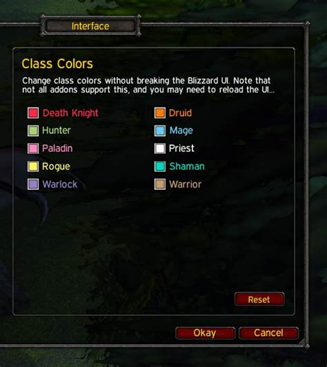 wow class colors class colors miscellaneous world of warcraft addons