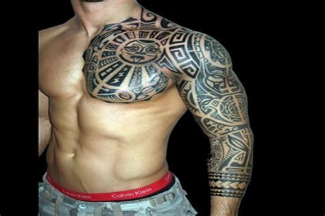 chest and half sleeve tattoos maori chest and half sleeve
