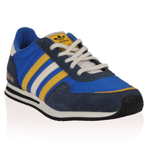 adidas shoes flat new mens adidas courage racer blue yellow lace up trainers