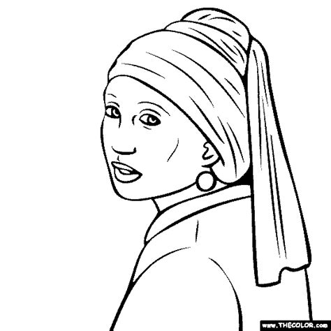With The Pearl Earring Coloring Page Printable Free Online Coloring Pages Thecolor