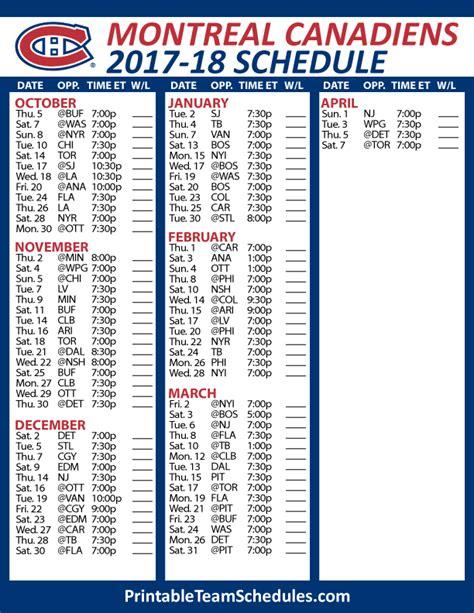 printable habs schedule printable montreal canadiens schedule 2017 2018