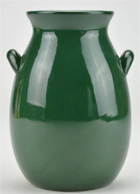 emerald green pottery jar or vase with handles 7 quot