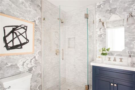 blue marble effect bathroom tiles corner glass shower with white tumbled marble tiles