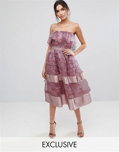 Hem Bordier To54 true violet true violet bardot midi dress in textured fringe fabric with border hem