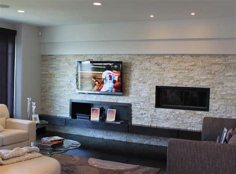 Sunroom Makeover Ideas Asymmetrical Long Stone Fireplace Contemporary Family