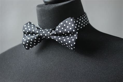 Polka Dot Bow Tie 55 black bow tie with white polka dots black white polka