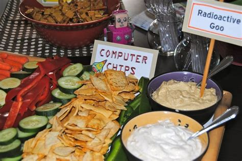 themed food events computer party themes robot party ideas computer chips