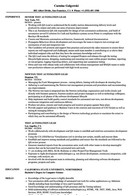 test lead resume format test automation lead resume sles velvet