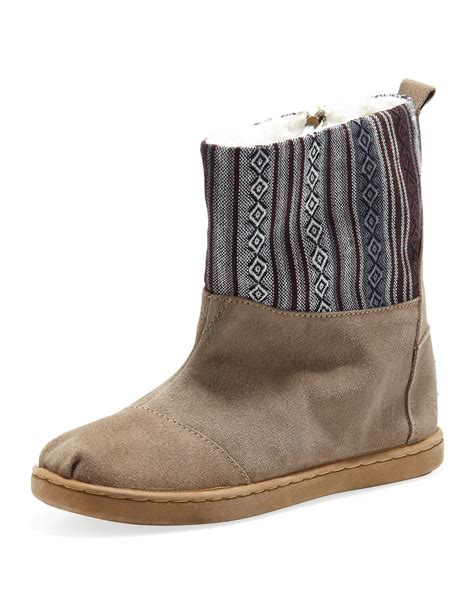 toms nepal suede boots sand youth in brown brown pattern