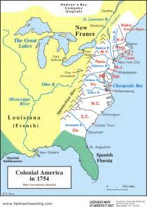 colony map map colonial america in 1754