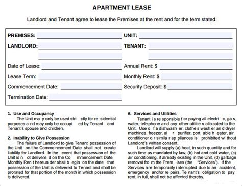 sample apartment lease agreements word  pages