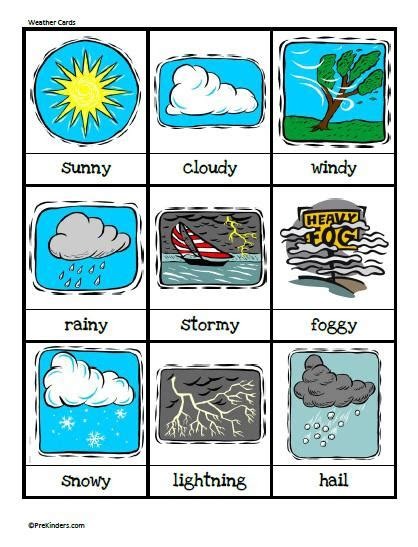 printable board game weather weather flash cards