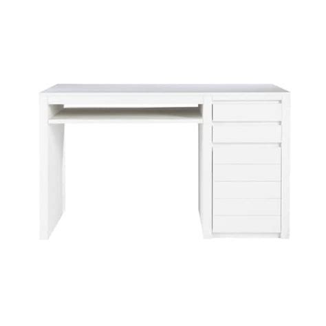 solid wood desk in white w 130cm white maisons du monde