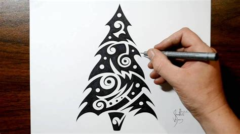 how to draw a christmas tree tribal tattoo design style