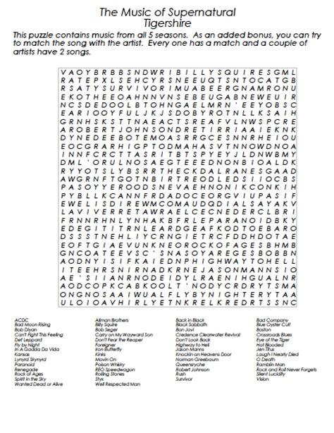 Musically Search The Winchester Family Business Of Supernatural Word Search Seasons 1 5