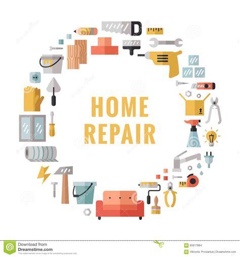 design home troubleshooting home repair icons flat cartoon vector cartoondealer com