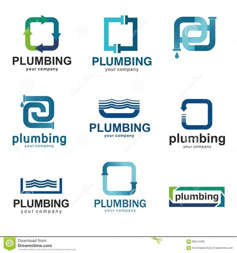 Flat Logo Design For Plumbing Company Vector Templates Logos Plumbing With Text Stock Vector Free Plumbing Logo Templates
