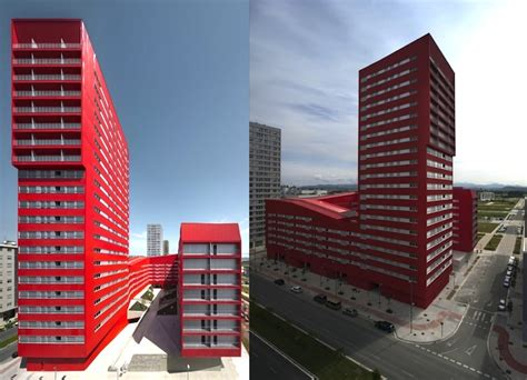 u shaped building bright red u shaped salburua social housing sells excess