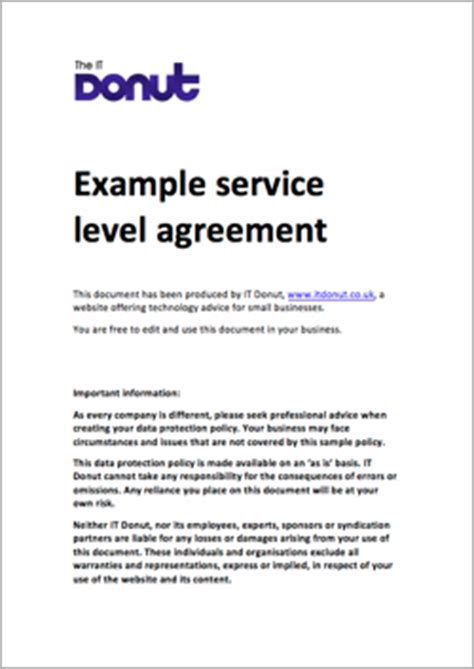 Sample service level agreement   TechDonut