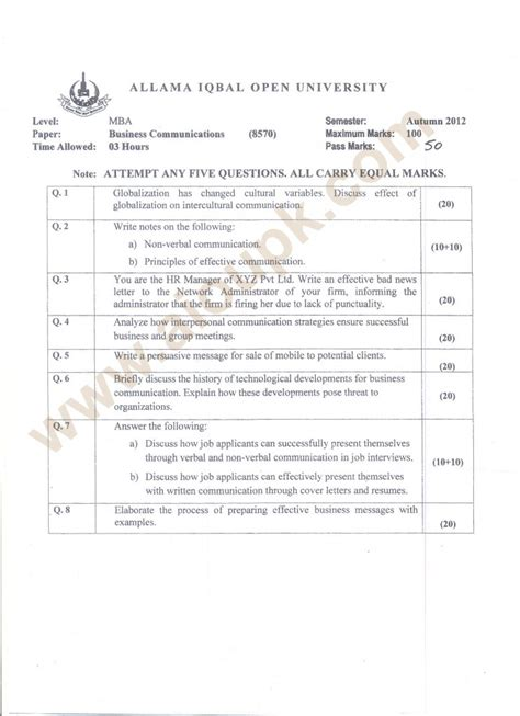 Mba Business Code by Business Communications Code 8570 Mba Aiou Papers