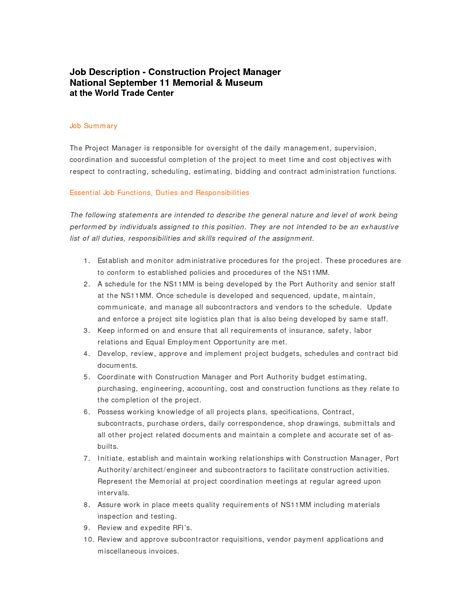 Sle Construction Superintendent Resume by Sle Resume Construction Project Manager 28 Images Pdf 100 Sle Construction Project Manager