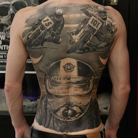vintage motorcycle racing back tattoo best tattoo design