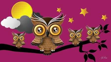 firefox themes owl mother owl and babies birds animals background
