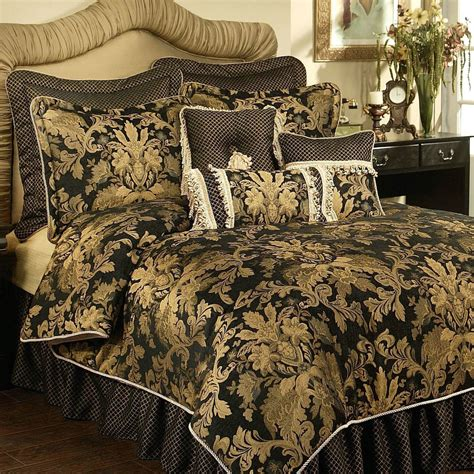 Gold And Black Bedding Sets by Lismore Black And Gold Damask Comforter Bedding From