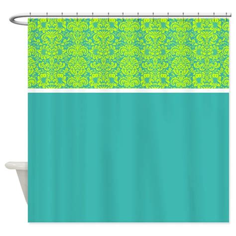 teal and green curtains teal and green damask shower curtain by alondrascreations
