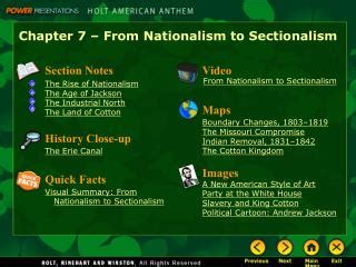 sectionalism powerpoint ppt chapter 7 from nationalism to sectionalism
