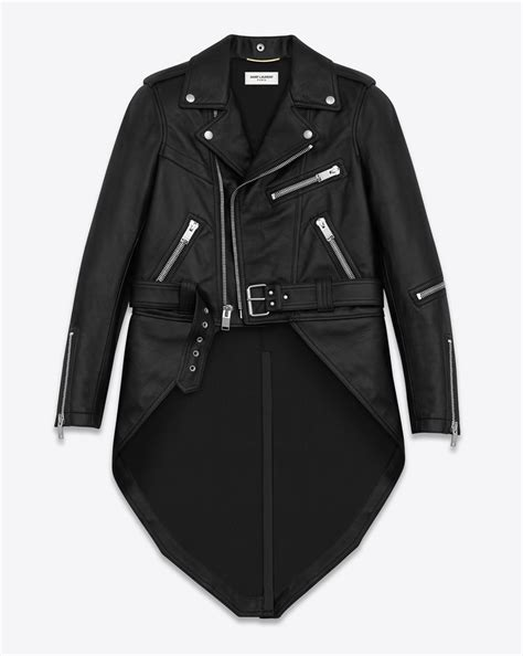 Hoodie Zipper Movistar laurent motorcycle jacket with tails in black leather ysl