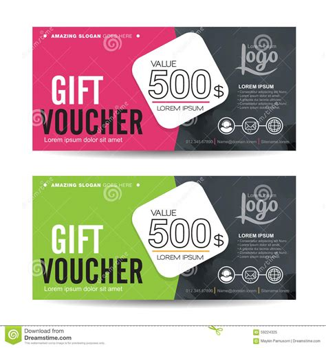 graphic design gift card template gift voucher stock vector image 59224325