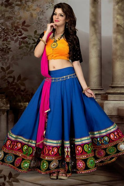 blue  yellow color simple short ghagra choli blue