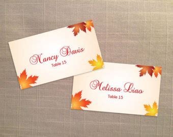 Printable Fall Place Cards Template by Fall Leaf Place Card Etsy