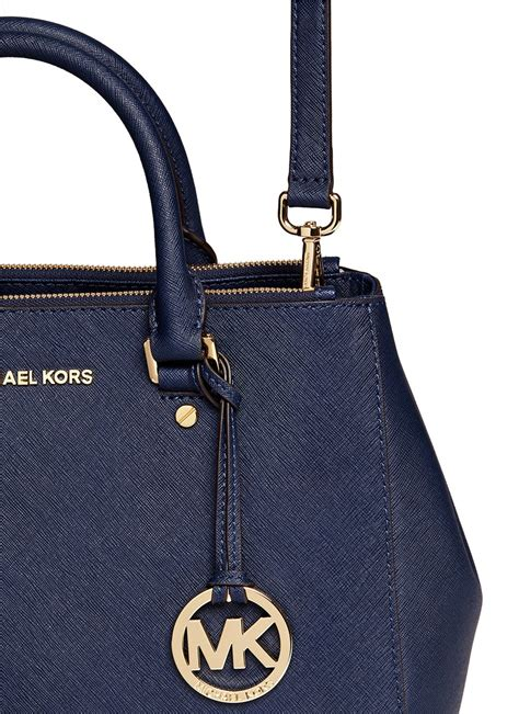 Michael Kors Sutton Medium Electric Blue And Navy michael kors sutton medium 18k gold saffiano leather satchel in blue lyst