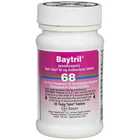 baytril dosage for dogs baytril 68mg per taste tablet