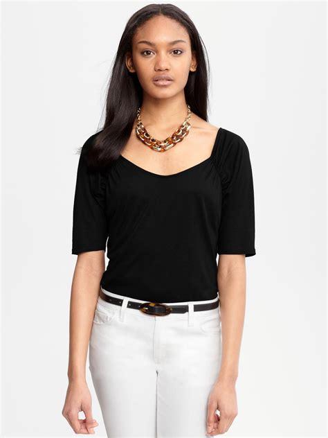 Blouse Black Square banana republic shirred square neck blouse in black lyst