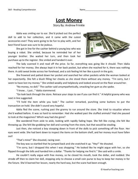 4th Grade Reading Comprehension Worksheets With Answers by Reading Comprehension Worksheet Lost Money