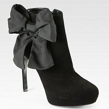 Mcqueen Bow Back Ankle Boots by Mcqueen Bow Trimmed Suede From Saks Shoes