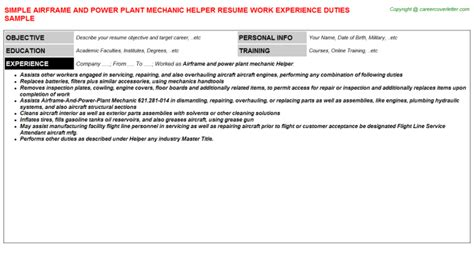 Power Plant Mechanic Cover Letter by Domestic Helper Resume