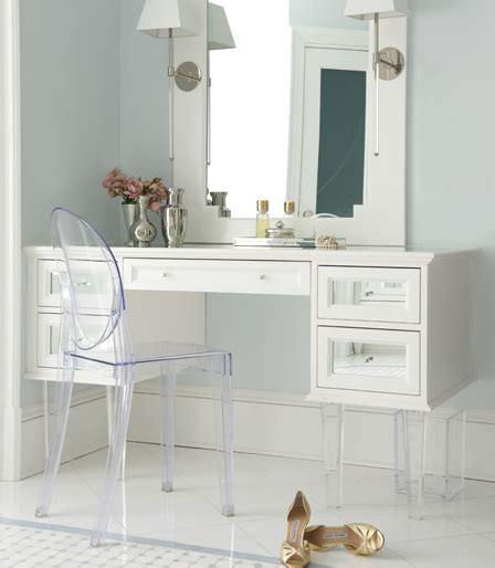 Makeup Vanities For Less White Makeup Vanity With Mirrored Drawers And Lucite Legs Transitional Bathroom