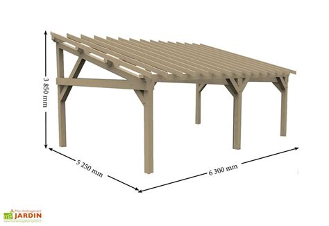carport 5x6 carport bois contrecoll 233 adossable monopente 15 176 2