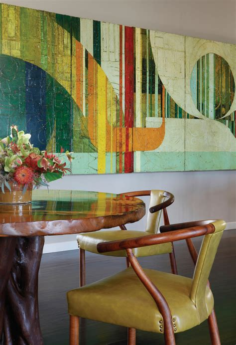 abstract art enhances traditional dining room splendid abstract metal art wall decor decorating ideas