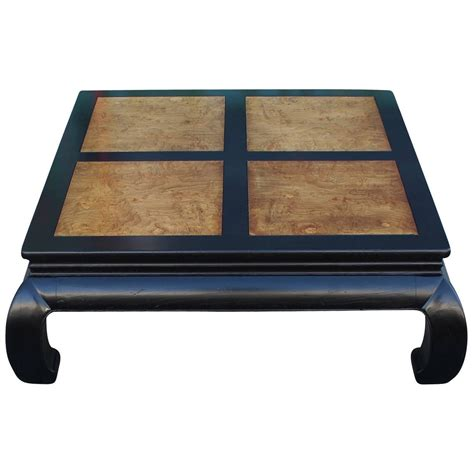 henredon coffee tables two tone burl wood ming style square coffee table by henredon at 1stdibs