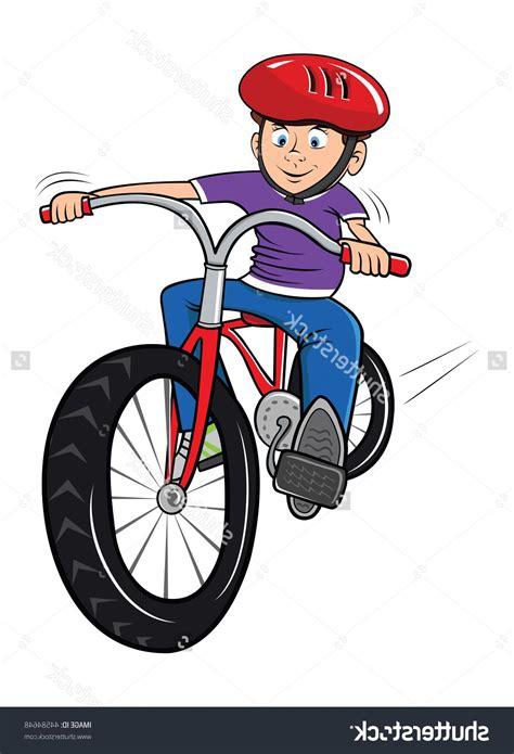 cdr bike best free stock vector cartoon illustration boy riding