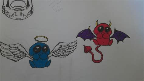 angel and devil tattoo drawing by ginningranger on deviantart