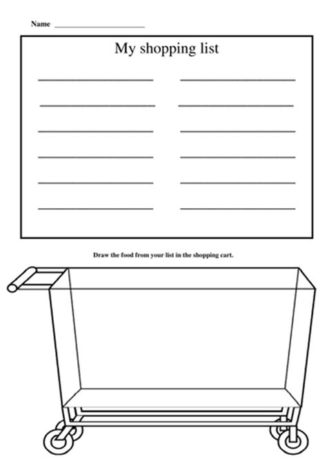 printable shopping list kindergarten shopping list by mollytrippe teaching resources tes