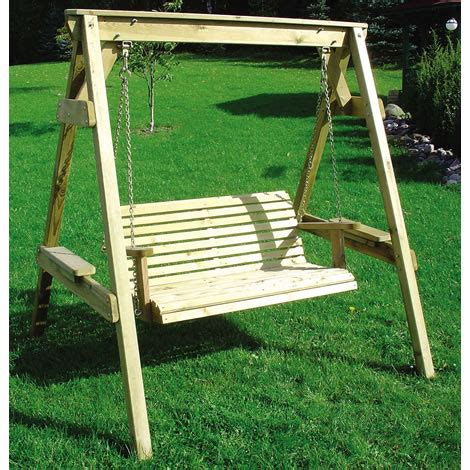 wooden swinging bench swing seat wooden garden swing seat with wood frame 2