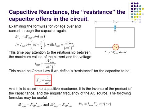 capacitor reactance equation alternating current ac r l c in ac circuits ppt